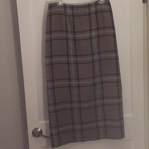 lined plaid career maxi, size 10